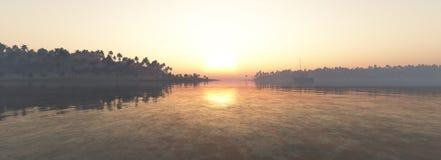 热带海岛背景全景  库存图片