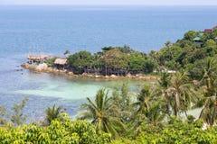 热带海岛酸值Phangan,泰国 顶视图 图库摄影