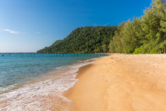 热带海岛金黄沙滩有树木丛生的陆岬的 免版税图库摄影