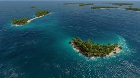 热带海岛鸟瞰图在绿松石海 免版税库存图片