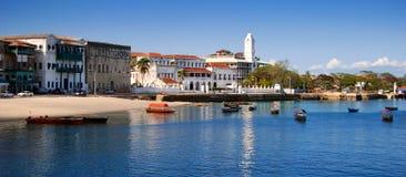 热带海岸线的全景 免版税库存照片