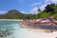 热带海岸,海湾白鹅Lazare Mahe,塞舌尔群岛 库存照片