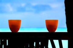 热带海景海洋海棕榈树天空艺术滚保龄球 库存图片