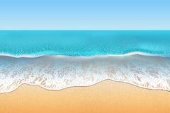 热带海滩传染媒介例证 沙子和软的波浪 免版税图库摄影