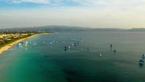 热带海滩和帆船,博拉凯,菲律宾 时间间隔 股票视频