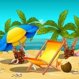 热带海滩在中午 懒人在伞,在椰子里面的一份热带饮料下 海报的剪影 库存例证