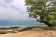 热带海滩在阴沉的天气天 库存图片
