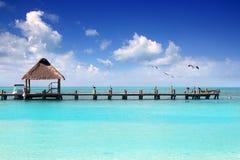 热带海滩客舱加勒比contoy海岛的码头 库存照片