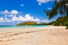 热带海滩彻特d'Or -海岛Praslin塞舌尔群岛 库存图片