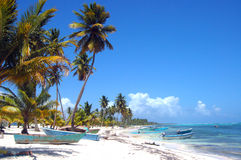 热带海滩的小船 免版税库存图片