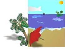 热带海滩的广告牌 库存图片