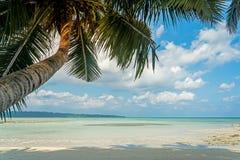 热带海滩的掌上型计算机 免版税图库摄影