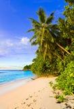 热带海滩的掌上型计算机 免版税库存照片