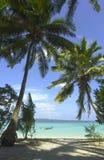 热带海滩的掌上型计算机 库存照片