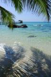 热带海滩的掌上型计算机 库存图片