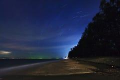 热带海滩的晚上 库存照片