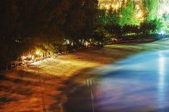 热带海滩的晚上 库存图片