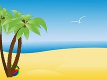 热带海滩空的掌上型计算机场面的结构树 免版税图库摄影