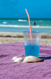 热带海滩蓝色冷的饮料 库存照片