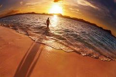 热带海滩,菲律宾, fisheye射击 库存照片