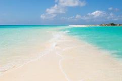 热带海滩, los roques海岛,委内瑞拉 免版税库存照片