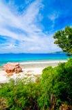 热带海滩。塞舌尔群岛 免版税库存图片