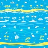 热带海滩假期无缝的传染媒介背景 免版税库存图片