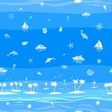 热带海滩假期无缝的传染媒介背景 免版税库存照片