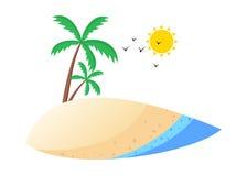 热带海滩动画片样式设计 向量例证