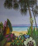 热带海滩原始的丙烯酸酯的绘画  免版税库存照片