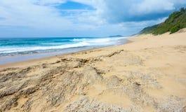 热带海滩和海景在莫桑比克海岸线 库存图片