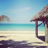 热带海滩和海洋美好的instagram  免版税库存照片