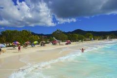 热带海滩在安提瓜岛,加勒比 免版税库存照片