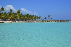 热带海滩在瓜德罗普,加勒比 库存照片