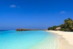 热带海滩在马尔代夫 库存照片