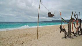 热带海滩的吊床 股票录像