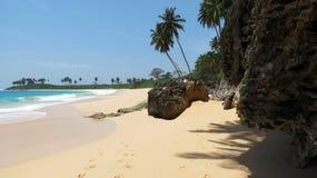 热带海滩的海运 库存图片