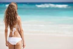 热带海滩的美丽的妇女 回到视图 库存图片