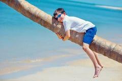 热带海滩的逗人喜爱的小男孩坐棕榈树 库存照片