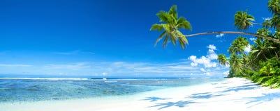 热带海滩目的地全景概念 库存照片