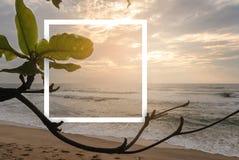 热带海滩自然风景与白皮书框架的 库存照片