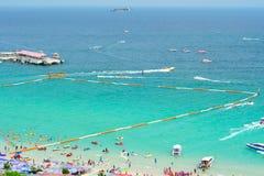 热带海滩视图,芭达亚 免版税库存图片