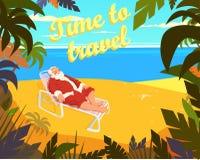 热带海滩,太阳,夏天,圣诞老人,假日,时刻旅行 也corel凹道例证向量 免版税库存照片