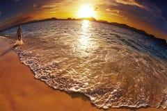 热带海滩,菲律宾, fisheye射击 免版税库存照片