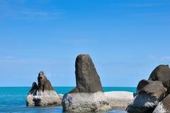 热带海滩, longtail小船,安达曼海,泰国 免版税库存照片