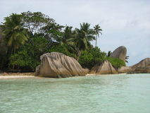 热带海滩D'Argent 库存照片