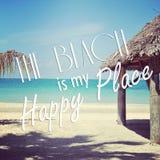 热带海滩Instagram与行情的 免版税库存照片