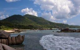 热带海滩la digue海岛,塞舌尔群岛 图库摄影