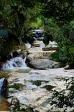 热带瀑布通过森林密林金马仑高原马来西亚 免版税库存图片