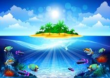 热带珊瑚岛的礁石 免版税库存照片